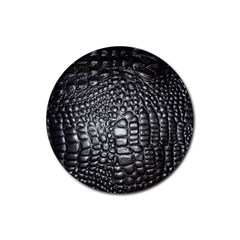 Black Alligator Leather Rubber Coaster (round)
