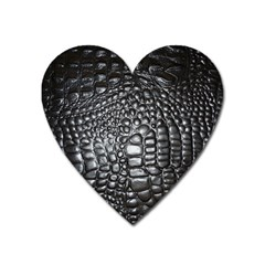 Black Alligator Leather Heart Magnet