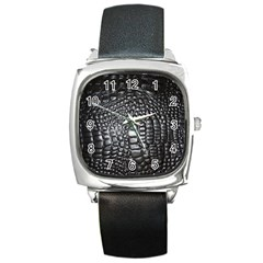 Black Alligator Leather Square Metal Watch