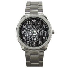 Black Alligator Leather Sport Metal Watch