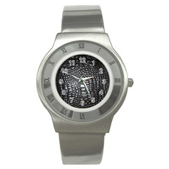 Black Alligator Leather Stainless Steel Watch