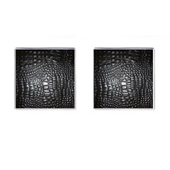 Black Alligator Leather Cufflinks (square)