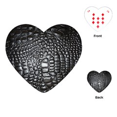 Black Alligator Leather Playing Cards (heart)