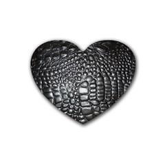 Black Alligator Leather Rubber Coaster (heart)