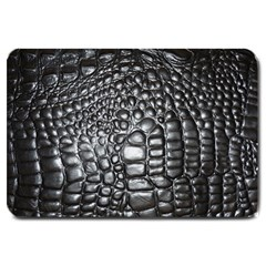 Black Alligator Leather Large Doormat