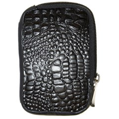 Black Alligator Leather Compact Camera Cases