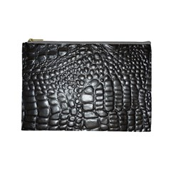Black Alligator Leather Cosmetic Bag (large)