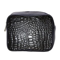 Black Alligator Leather Mini Toiletries Bag 2 Side