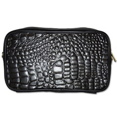 Black Alligator Leather Toiletries Bags 2 Side