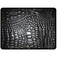 Black Alligator Leather Fleece Blanket (large)