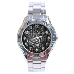 Black Alligator Leather Stainless Steel Analogue Watch