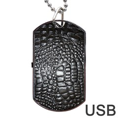 Black Alligator Leather Dog Tag Usb Flash (one Side)