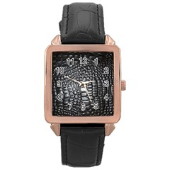 Black Alligator Leather Rose Gold Leather Watch
