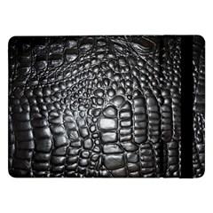 Black Alligator Leather Samsung Galaxy Tab Pro 12 2  Flip Case