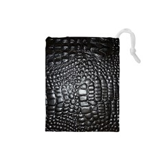 Black Alligator Leather Drawstring Pouches (small)