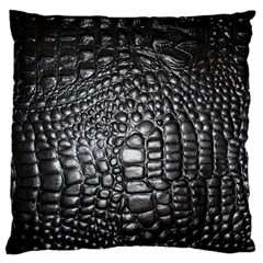 Black Alligator Leather Standard Flano Cushion Case (two Sides)
