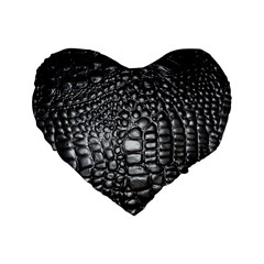 Black Alligator Leather Standard 16  Premium Flano Heart Shape Cushions