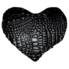 Black Alligator Leather Large 19  Premium Flano Heart Shape Cushions