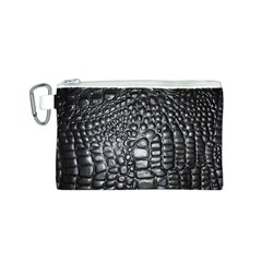 Black Alligator Leather Canvas Cosmetic Bag (s)