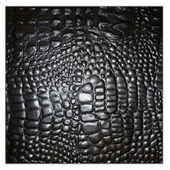 Black Alligator Leather Large Satin Scarf (square)