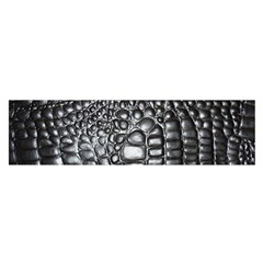 Black Alligator Leather Satin Scarf (Oblong)