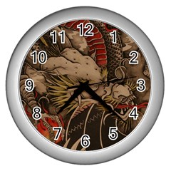 Chinese Dragon Wall Clocks (silver)