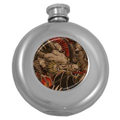 Chinese Dragon Round Hip Flask (5 Oz)