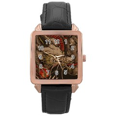 Chinese Dragon Rose Gold Leather Watch