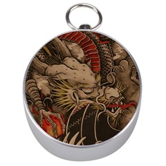 Chinese Dragon Silver Compasses