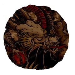 Chinese Dragon Large 18  Premium Flano Round Cushions