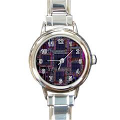 Technology Circuit Board Layout Pattern Round Italian Charm Watch