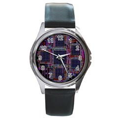 Technology Circuit Board Layout Pattern Round Metal Watch