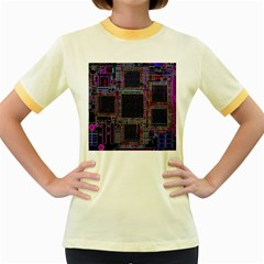 Technology Circuit Board Layout Pattern Women s Fitted Ringer T Shirts