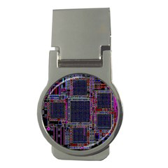 Technology Circuit Board Layout Pattern Money Clips (round)
