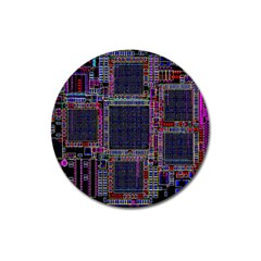 Technology Circuit Board Layout Pattern Magnet 3  (round)