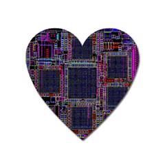 Technology Circuit Board Layout Pattern Heart Magnet