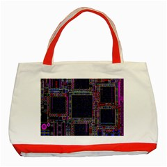 Technology Circuit Board Layout Pattern Classic Tote Bag (red)