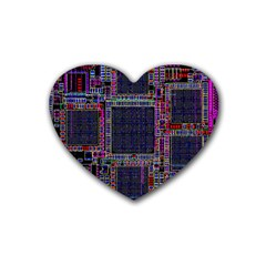 Technology Circuit Board Layout Pattern Heart Coaster (4 Pack)