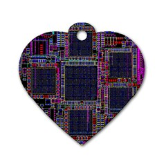 Technology Circuit Board Layout Pattern Dog Tag Heart (one Side)