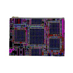 Technology Circuit Board Layout Pattern Cosmetic Bag (large)