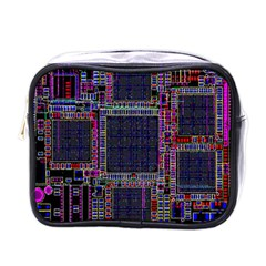 Technology Circuit Board Layout Pattern Mini Toiletries Bags