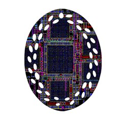 Technology Circuit Board Layout Pattern Oval Filigree Ornament (two Sides)