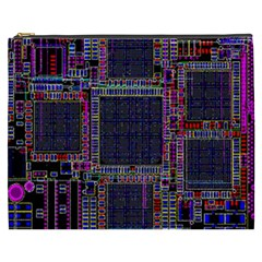 Technology Circuit Board Layout Pattern Cosmetic Bag (xxxl)