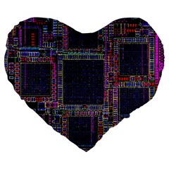 Technology Circuit Board Layout Pattern Large 19  Premium Heart Shape Cushions