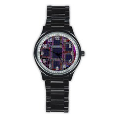 Technology Circuit Board Layout Pattern Stainless Steel Round Watch