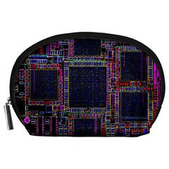 Technology Circuit Board Layout Pattern Accessory Pouches (Large)