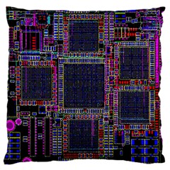 Technology Circuit Board Layout Pattern Standard Flano Cushion Case (one Side)
