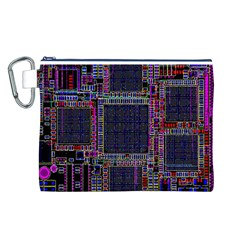 Technology Circuit Board Layout Pattern Canvas Cosmetic Bag (L)