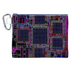 Technology Circuit Board Layout Pattern Canvas Cosmetic Bag (XXL)