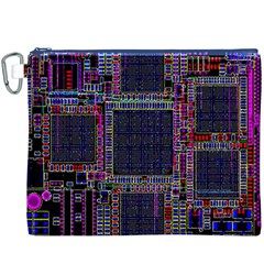 Technology Circuit Board Layout Pattern Canvas Cosmetic Bag (XXXL)